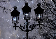 Night Scenes Prints - Paris Street Lights Lanterns - Paris Starry Night Dreamy Surreal Starlit Night Street Lamps of Paris Print by Kathy Fornal