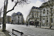 Old Town Digital Art Framed Prints - Paris Streets 1 Framed Print by Yury Malkov