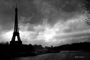 Surreal Images Prints - Paris Surreal Dark Eiffel Tower Black White Starlit Night Scene - Eiffel Tower Black and White Photo Print by Kathy Fornal