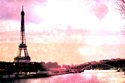 Paris Prints Photos - Paris Surreal Eiffel Tower Pink Yellow Abstract by Kathy Fornal