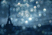 Dreamy Blue Paris Prints Prints - Paris Surreal Eiffel Tower Sapphire Blue Starry Night - Eiffel Tower Blue Stars Bokeh Night Sky  Print by Kathy Fornal
