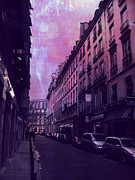 Paris Fine Art By Kathy Fornal Prints - Paris Surreal Fantasy Purple Street Scene  Print by Kathy Fornal