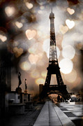 Romantic Paris Prints Posters - Paris Surreal Fantasy Sepia Black Eiffel Tower Bokeh Hearts and Circles - Paris Sepia Fantasy Nights Poster by Kathy Fornal
