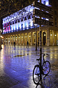 Night Photographs Posters - Paris Surreal Rainy Night Scene With Bicycle - Palais Royal Theatre District Rainy Night Lights Poster by Kathy Fornal