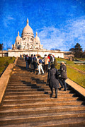 Architecture Textured Art Posters - Paris - The Long Climb to Sacre Coeur Poster by Mark E Tisdale