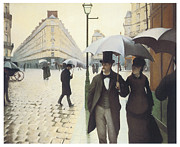 Rainy Day Painting Posters - Paris The Place de lEurope on a Rainy Day Poster by Gustave Caillebotte