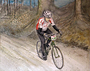 Bicycling Paintings - Paris to Ancaster Bicycle Race by Tanya Petruk