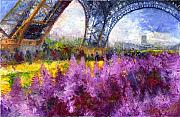 France Painting Posters - Paris Tour Eiffel 01 Poster by Yuriy  Shevchuk