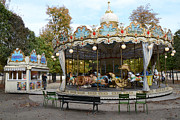 Surreal Paris Decor Photos Prints - Paris Tuileries Park Carousel - Dreamy Paris Carousel - Paris Merry-Go-Round Carousel - Tuileries Print by Kathy Fornal