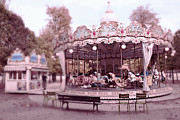 Surreal Paris Decor Photos Prints - Paris Tuileries Park Carousel - Paris Pink Carousel Horses - Paris Merry-Go-Round Carousel Art Print by Kathy Fornal