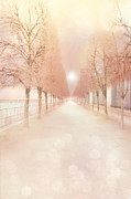 Tuileries Posters - Paris Tuileries Row of Trees - Paris Jardin des Tuileries Dreamy Park Landscape  Poster by Kathy Fornal