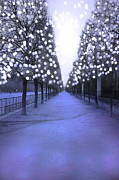 Surreal Paris Decor Photos Prints - Paris Tuileries Row Of Trees - Purple Lavender Sparkling Twinkling Lights - Paris Sparkling Lights  Print by Kathy Fornal