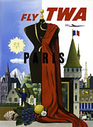 Vintage Poster Photos - Paris TWA by Mark Rogan