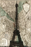 France Map Prints - Paris vintage map and Eiffel Tower Print by Georgia Fowler