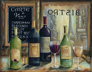 French Wine Bottles Painting Posters - Paris Wine Tasting Poster by Marilyn Dunlap