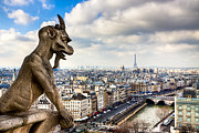 Gargoyles Framed Prints - Parisian Gargoyle Admires the Skyline Framed Print by Mark E Tisdale