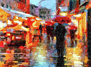 Street Lights Prints - Parisian Rain Walk Abstract Realism Print by Zeana Romanovna