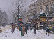 City Streets Framed Prints - Parisian Street Scene Framed Print by Eugene Galien-Laloue