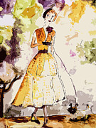 Fashion Mixed Media Posters - Parisienne avec Chien  Poster by Ginette Callaway