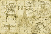 French Wine Bottles Prints - Parisienne-Sepia Print by Jean Plout