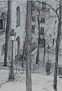 Landscapes Drawings Prints - Parisienne Walkways Print by Jackie Mestrom