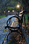Broadway Digital Art Metal Prints - Park Bench at Midnight Metal Print by Anahi DeCanio