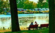Park Bench Conversation Shoreline Lachine Canal Quebec Art Montreal Scenes Carole Spandau Print by Carole Spandau