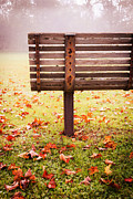 Fall Grass Prints - Park Bench in Autumn Print by Edward Fielding