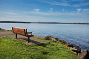 Kirkland Posters - Park bench overlooking Lake Washington Poster by Jo Ann Snover