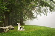 Forks Digital Art Posters - Park Bench Under A Tree In The Morning Fog Poster by Christina Rollo