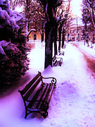 Park Benches Photos - Park Benches In Snow by Nina Ficur Feenan