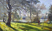 Falls Painting Originals - Park by Niagara Falls River by Ylli Haruni