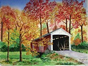 Covered Bridge Painting Metal Prints - Park County Covered Bridge Metal Print by Anita Riemen