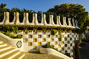 Parc Guell Prints - Park Guell Curved Wall Print by Deborah Smolinske