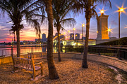 Night Scenes Photos - Park on the West Palm Beach Wateway by Debra and Dave Vanderlaan