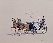 Two Horses Posters - Park Phaeton Poster by Ninetta Butterworth