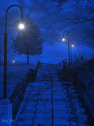 Lights Digital Art Originals - Park Stairs by Michael Rucker