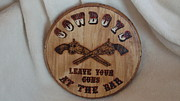 Sign Pyrography Framed Prints - Park Your Pistols Framed Print by Dakota Sage