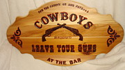 Restaurant Sign Pyrography Originals - Park Your Pistols II by Dakota Sage