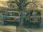 Transportation Pastels Prints - Parked Print by Donald Maier