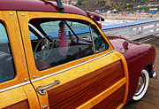Woodies Framed Prints - Parked on the Pier Framed Print by Ron Regalado