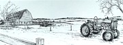 Farm Stand Drawings Prints - Parked Tractor  Print by Scott Nelson