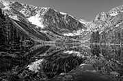 Alpine Lake Framed Prints - Parker Lake Black and White Framed Print by Scott McGuire