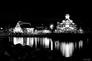 Marina Night Framed Prints - Parkers Lighthouse Black And White Framed Print by Heidi Smith