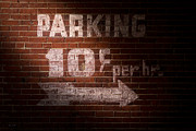 Brick Building Prints - Parking Ten Cents Print by Bob Orsillo