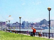 Susan Savad Framed Prints - Parks - Flying a Kit at Pier A Park Hoboken NJ Framed Print by Susan Savad