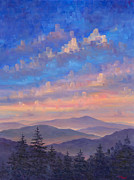 Blue Ridge Parkway Paintings - Parkway Ridges at Dusk by Jeff Pittman