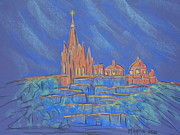 Church Street Pastels Framed Prints - Parroquia from Below Framed Print by Marcia Meade