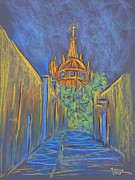 Church Street Pastels Framed Prints - Parroquia from the Back Framed Print by Marcia Meade