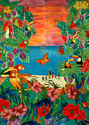 Caribbean Art Tapestries - Textiles Originals - Parrot Bay by Jean Baardsen